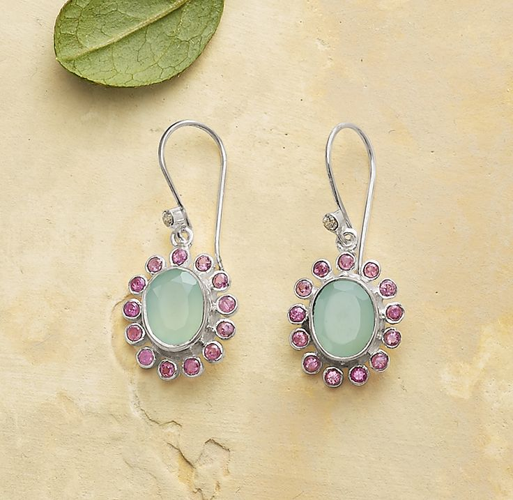 Dream Garden Earrings - unique earrings with fanciful flowers of aqua and pink tourmaline.