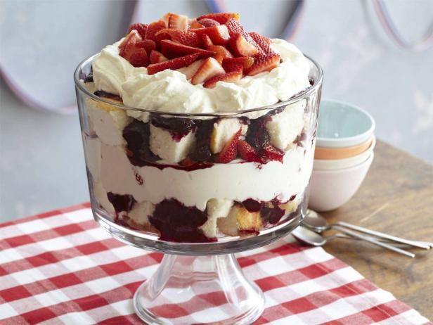 Red, White and Blueberry Trifle: Desserts, Food Network, Red, Trifles Recipes, White, Blueberry Trifle, Foodnetwork, Food Cakes, Blueberries Trifles