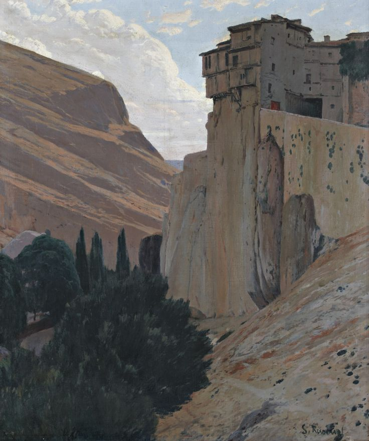 """art-and-things-of-beauty: """" Santiago Rusiñol (1861-1931) - Hanging Houses, Cuenca, oil on canvas, 121 x 101,5 cm. """""""