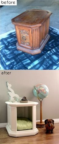 Great idea for a pet bed...transform an old or broken bit of furniture into something that will be used and looks great!