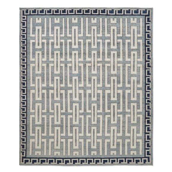 Neoclassical Hand Knotted Rug, Glacier Blue - Hand knotted from yarn-dyed wool for softness and enduring color. - Transitional Design Rug