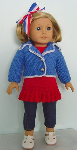 American girl doll knit pattern for jacket cardigan sweater and skirt