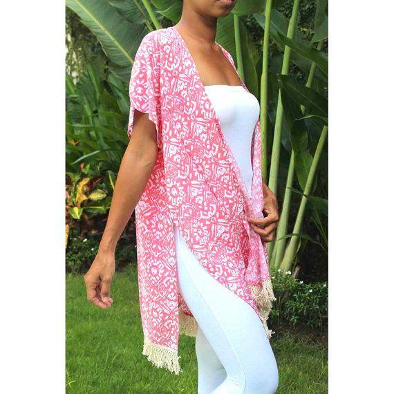 Kimono St Tropez  D69  Woman Summer printed rayon  by CintaTomato
