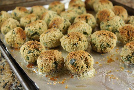 "Spinach, ricotta and breadcrumb ""meatballs"""