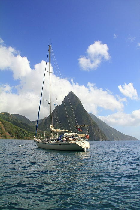 Sailboat and The Iconic  Pitons, St. Lucia | Simply Irresistible To Discerning Travelers | Get Vacation Packages!