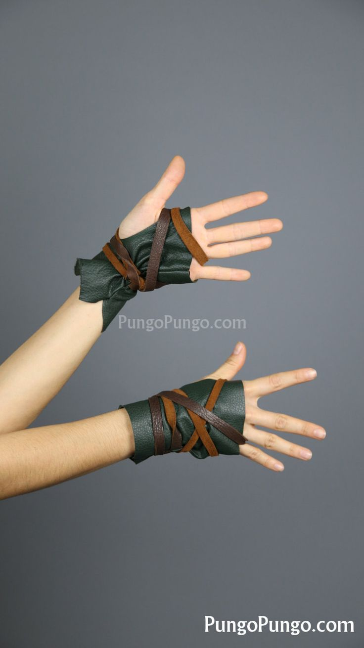 Green Fingerless Leather Gloves, Short | Elf Costume Warrior Video Gamer Mad Max Post apocalyptic Zombie Hunter Barbarian World of Warcraft by PungoPungo on Etsy