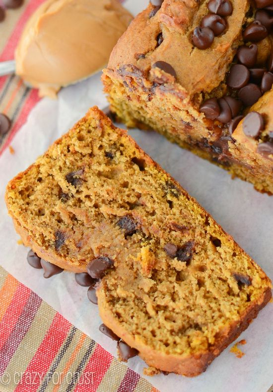 Peanut Butter Pumpkin Bread with chocolate chips | We LOVE this bread and want it every day for breakfast! | crazyforcrust.com | #pumpkin #breakfast