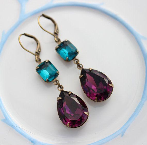 Teal Amethyst Peacock earrings, amethyst earrings, teal earrings, purple earrings, Swarovski earring, purple and teal, peacock blue ATS05