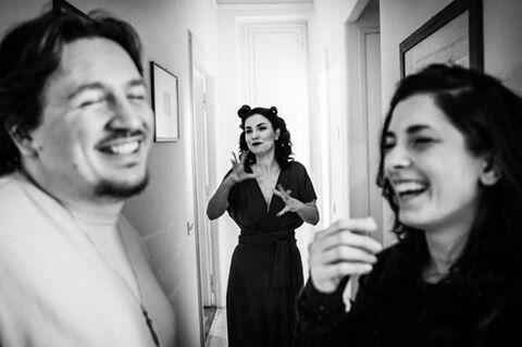 "Backstage Shooting of ""Ciakmood"" - thanks to Emanuele Giacomini #40s #actress #blackandwhite #diva #movie #set #costume #dress #eveningdress #abitodasera #anni40 #ciakmood #EGphoto"