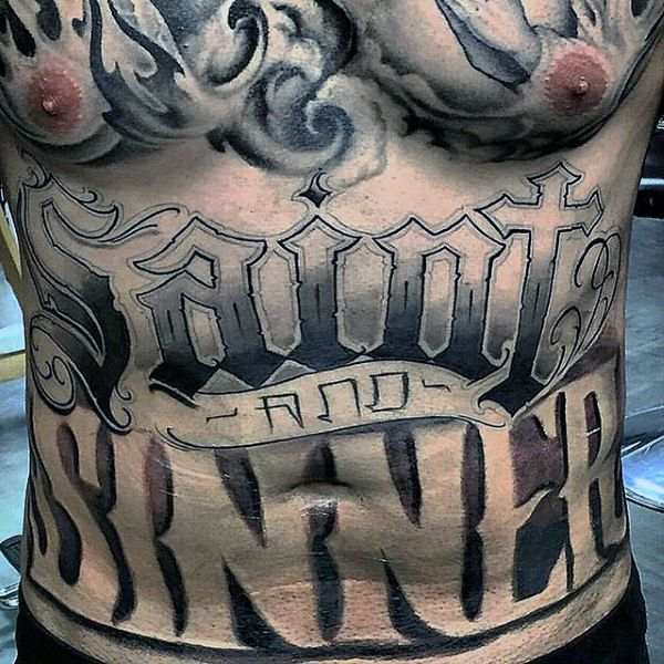 stomach tattoos for men writing about bottoming