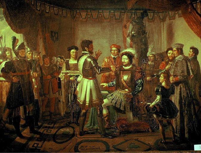 Pierre Du Terrail Chevalier De Bayard knighting Francis I by Henry Buguet in 1817.