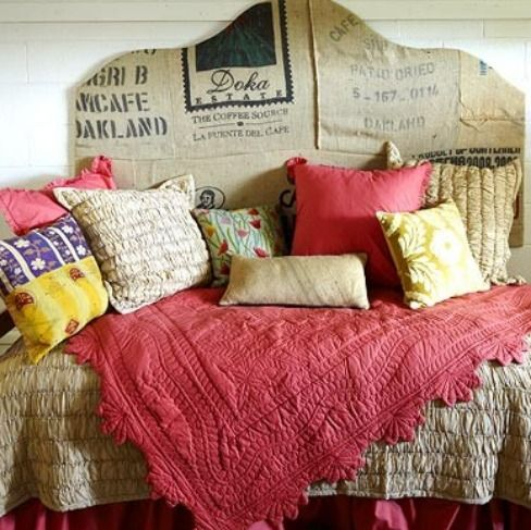 pillows pillows pillowsIdeas, Dorm Room, Beds Skirts, Coffe Sack, Dormroom, Coffe Bags, Head Boards, Burlap Bags, Diy Headboards