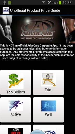 This is NOT an official AdvoCare Corporate App.  It has been developed by an independent distributor for information purposes.  Any statements or problems associated with this App. are the sole responsibility of the independent distributor.  Prices subject to change without notice.  To purchase products you will be redirected to our website where purchasing and shipping are handled.  http://Mobogenie.com