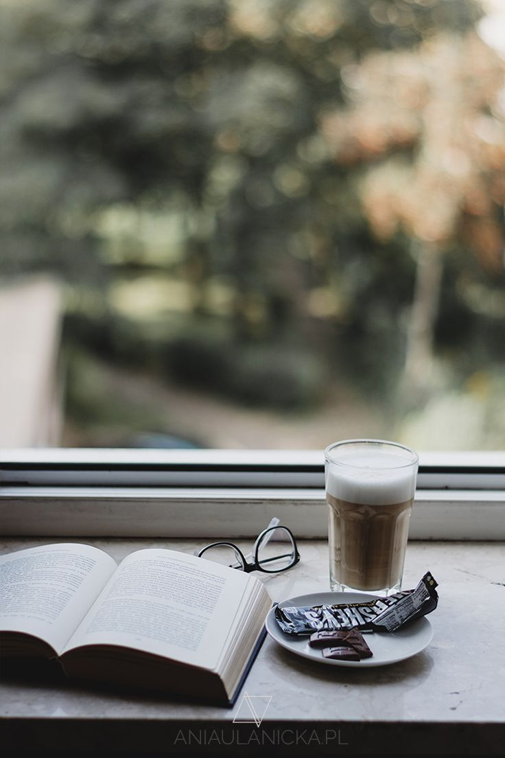 Book, chocolate and coffee in the morning.