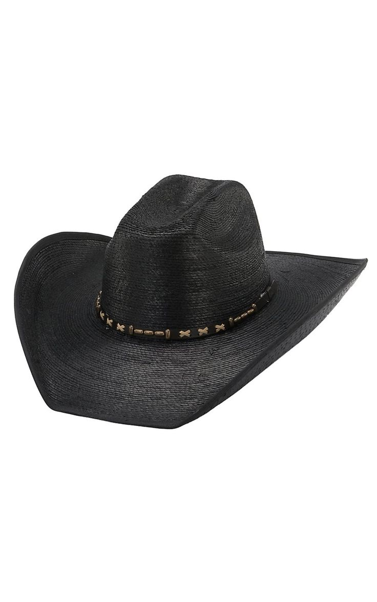 Cavenders 20X Black Pondorosa Bound Bound Edge Palm Leaf Hat