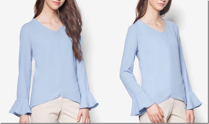 Kebaya Style + Flared Cuff Blouse Ideas For Raya 2016 / powder-blue-flare-cuff-vneck-top