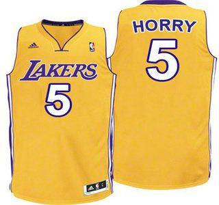 da0688d34fd ... Los Angeles Lakers Jersey 5 Robert Horry Yellow Revolution 30 Swingman  Jerseys ...