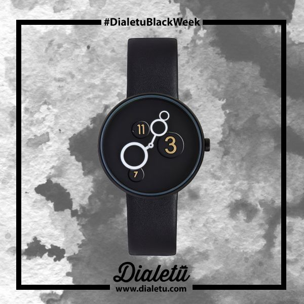 """The perfect watch for all architecture lovers. With a Minimalistic dial in black w/white hands and only three numbers. This model has the theme: """"See what Galileo saw with his telescope in 1609…"""".  Moon Crater 40MM (BLK Leather) by Projects."""