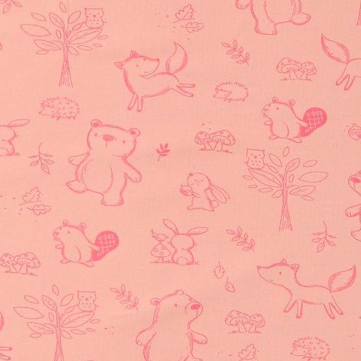 Stretch jersey rosa med dyrebarn