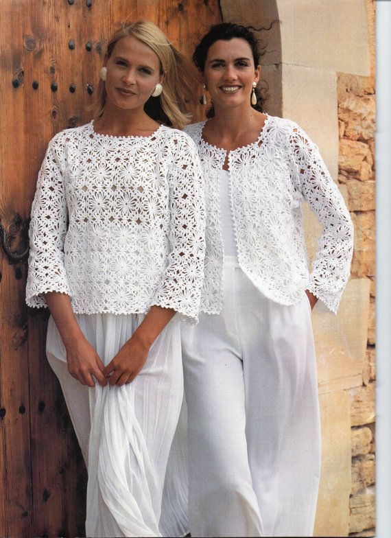 CR080 Womens CROCHET PATTERN Ladies Crochet Jacket Gilet Sweater Top Crochet Motif Crochet Sweater 32-36inch 4Ply Cotton Yarn PDF Instant Download