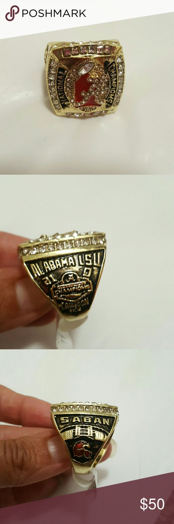 Alabama Crimson Tide Ring 2011 Alabama Crimson Tide National Championship Ring.....Yellow Gold Filled Accessories Jewelry