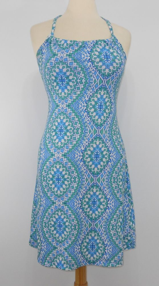 5ac05cda8c0 PrAna XS Blue Dress Racerback Strappy Athletic Shelf Bra Kaleidoscope Blue  Green