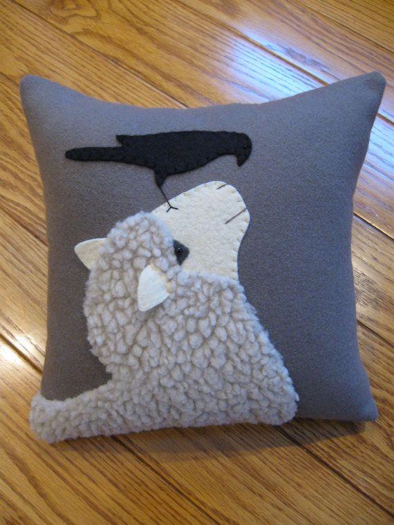 Good Morning Mr. Crow..... Wool applique sheep pillow