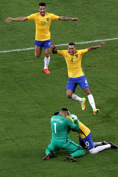 Brazil celebrate winning the penalty shootout during the Mens Football Final…