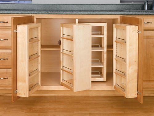 built in kitchen pantry cupboards | Wasted under cabinet space is a pet peeve of mine and these rock!