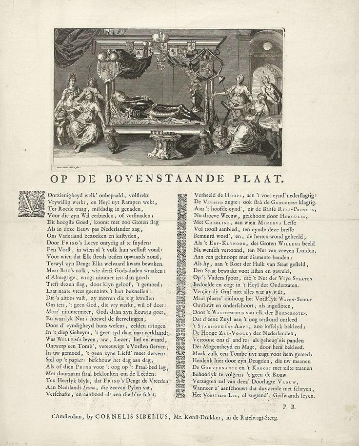Gerard Sibelius | Allegorisch praalbed van prins Willem IV, 1751, Gerard Sibelius, 1751 | Het praalbed van de op 22 oktober overleden prins Willem IV en waarop hij gedurende de maanden november en december van het jaar 1751 opgebaard heeft gelegen. Aan het hoofdeinde van het bed de rouwende weduwe met dochter prinses Caroline en zoon prins Willem V vergezeld door allegorische figuren. Het bed versierd met de wapens van de zeven provincies, de Generaliteit en de Admiraliteit. Op het blad…