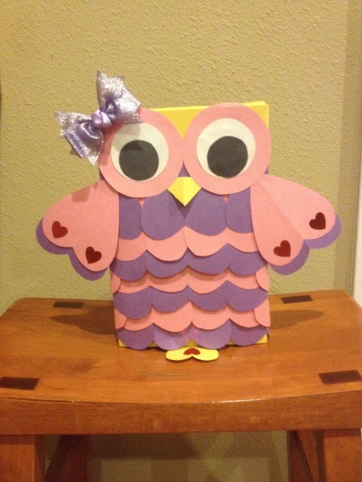 Owl valentines day box for girl