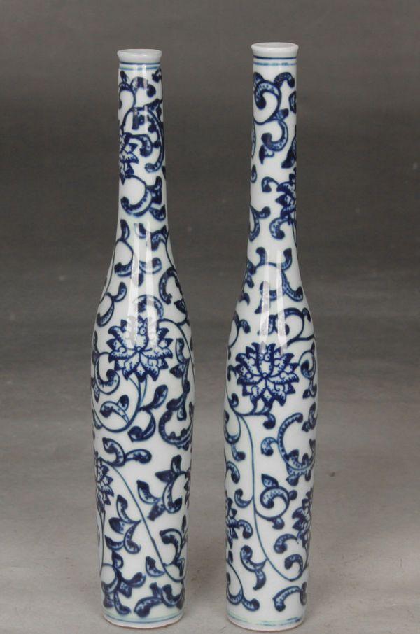 Одна пара Изысканные Красивые Китайские Синие и белые фарфоровые вазы окрашены благоприятный цветы