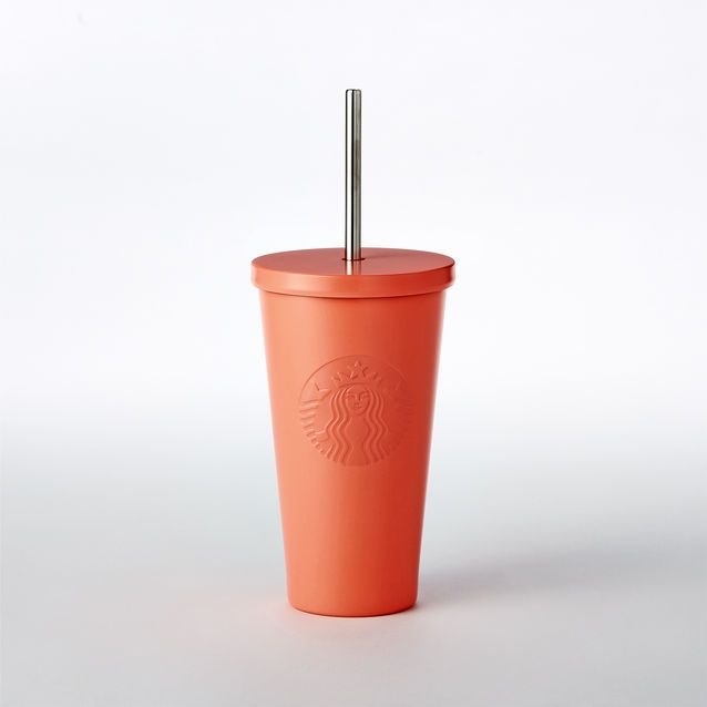 An insulated stainless steel Cold Cup in bold neon orange, with embossed Siren logo and stainless steel straw.