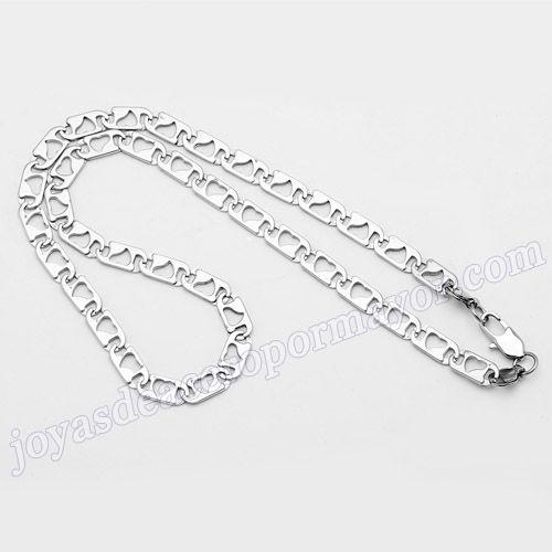 Material:Acero Inoxidable     Nombre:La forma de corazon cadenas de acero de 57cm   Model No.:SSNE022   Talla:57cm,8mm width   weight:36.3g
