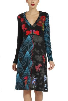 Rousseau Desigual dress from the Galactic line. Galactic and floral shapes combine in this long sleeved dress. Our Galactic line stars this season!