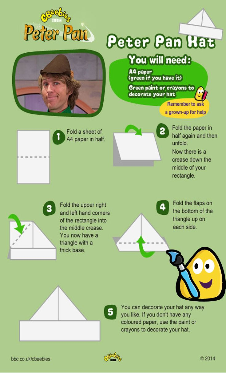Fancy flying high with Tinkerbell and the Neverland characters? Here's a great craft project for kids from CBeebies, presented by Mr Bloom – a really simple Peter Pan hat!