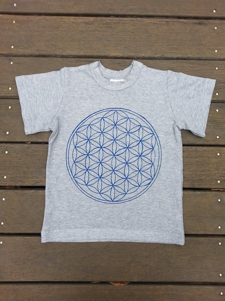 Kids Grey Marle Tee with Blue 'Flower of Life' Symbol. Bamboo/Organic Cotton. Fair Trade.