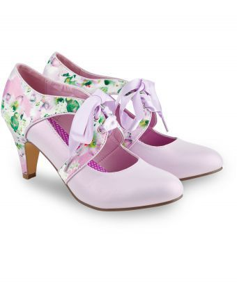 Prim and pretty, these dreamy heels feature a beautiful floral satin print and sumptuous ribbon lacing, ideal for a wedding, garden party or just adding a little luxury to your everyday style. Heel height: 8.5cm