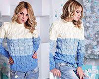 Вязанный свитер бело-голубой