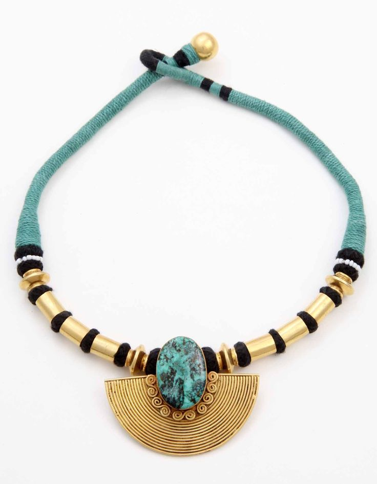 Stunningly modern necklace fuses traditional motifs of Indian jewelry with modern forms and colors.Super sonic elegance in one shot Sterling silver with 3% gold micro plating. Hand Made in India #tribal #necklace