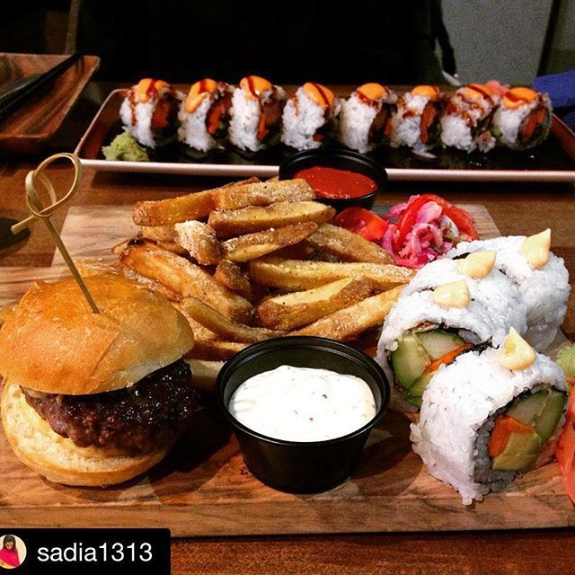 Sunday's are meant for sleeping in and Burgushi  #Repost @sadia1313 with @repostapp. #yycfood #yyceats #yycdrinks #yycfoodies #foodies #yyc #nomnom #yycfoodjunkie #goodeats #food #foodporn #foodgasm #fusion #fitness #healthyliving #eatlocal #downtownyyc #organic ・・・ When we go on adventures - we order Burgushi. @nubaha trying Nu things. . . . . #moviedate #burger #sushi #burgushi #yummy #food #asian
