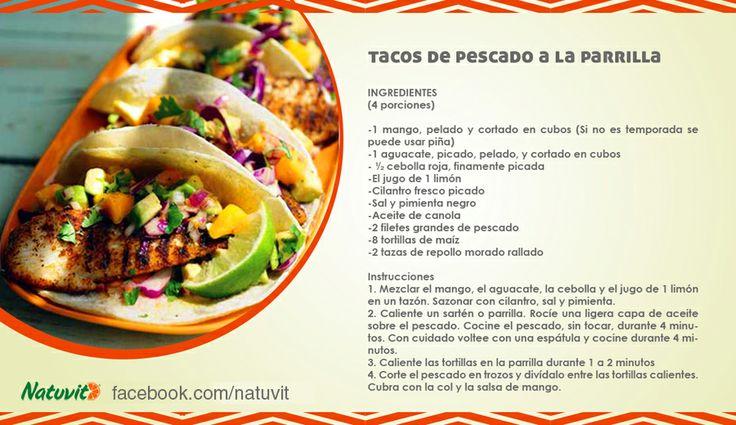 Tacos de pescado a la parrilla www.facebook.com/natuvit www.natuvit.com.mx