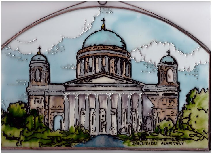 Esztergomi Bazilika   A Sérültekért Alapítványnál festettük Navratil Zsuzsa grafikája alapján. A Magyar Kormány vitte a Pápának ajándékba.