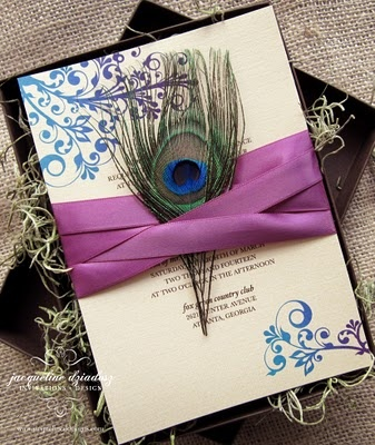 invite with a print peacock feather