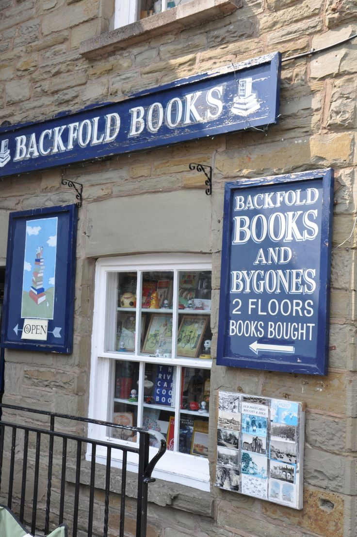 Backfold Books, Oxford Road, Hay-on-Wye, UK. A bookshop that also sells vintage postcards and collectables.