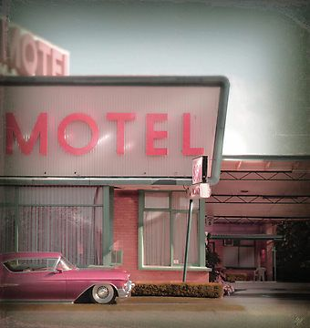 pink motel and pink classic car