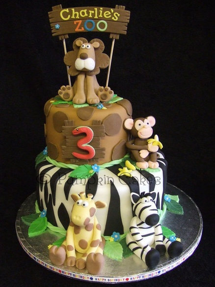 Dana-Love this cake except with a 2 instead and if you can do the sign-(if not it's ok), but if you can having it say Nathan's Safari? If you could duplicate this that would rock!