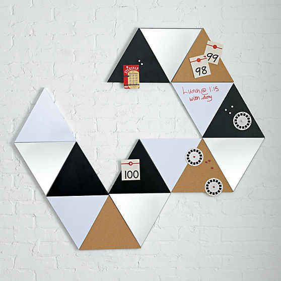 Triangular dry erase and chalk boards to use like pattern blocks on your walls.