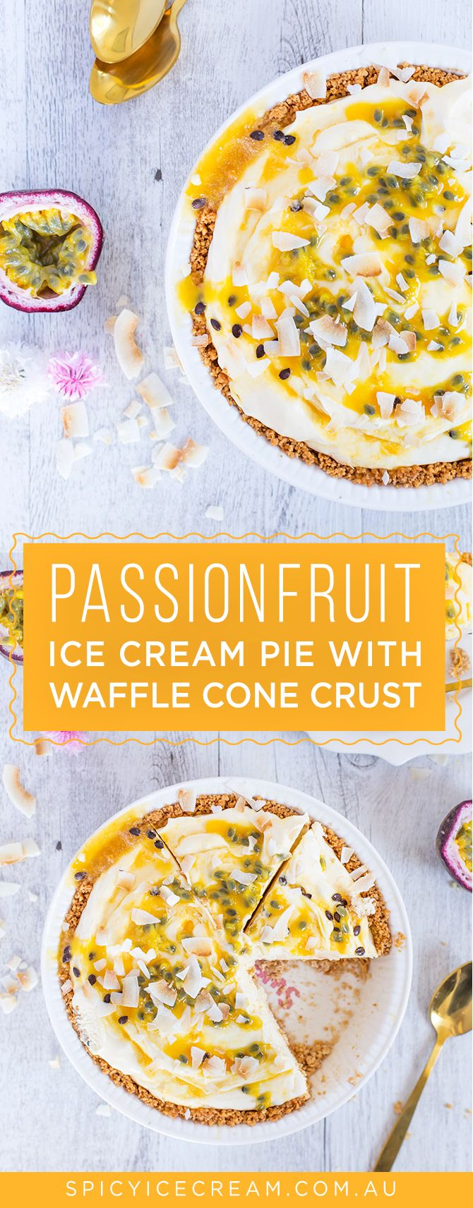 No Churn White Chocolate & Passionfruit Ice Cream in a Waffle Cone Crust. If you're looking for a delicious and easy recipe for Australia Day, this is it my friends! Click through for the full recipe.