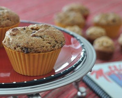 Banana Nutter Muffins @ KitchenParade.com. Whole-wheat muffins with banana, peanut butter and chocolate. So good!